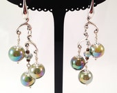 Earrings with drops of crystal and ceramic beads with hooks in silver 925