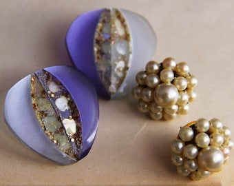 Two Pairs of Vintage Purple and Pearl Earrings Circa 1950's