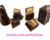 Premium filled chocolate T.A.R.D.I.S. and Dalek sets, multiple fillings to choose from!