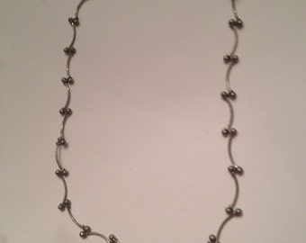Vintage Silver Bar and Bead Necklace Costume Jewelry