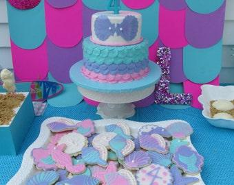 1 dozen mermaid under the sea decorated sugar cookies!
