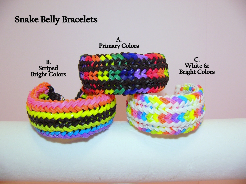 rainbow loom rubber band snake belly bracelet