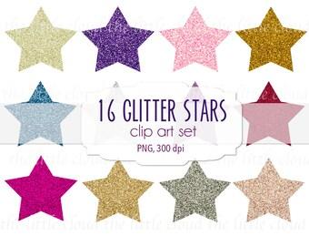 12 glitter stars clip art - high resolution quality clip art set