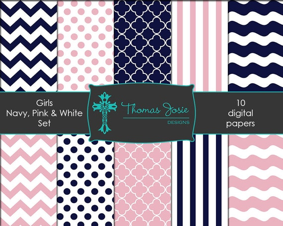 Pink and Navy Digital Paper Girl Backgrounds Chevron Digital Paper Polka Dot Digital Paper Striped Digital Paper 8.5 x 11 - Instant Download