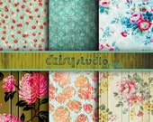 Vintage Floral Digital Paper 12 x 12 inch paper pack digital paper printable digital collage sheet  dsg005