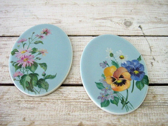 Vintage Hand Painted Ceramic Tiles Pansy And Aster By