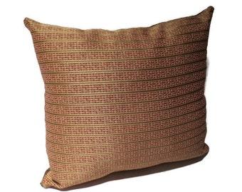 Decorative Throw Pillow, Designer Fabric, Vintage, Red, Pink, Stripes, Home Decor