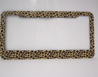 Leopard design license plate frame,