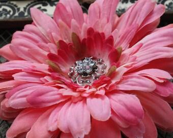 Flower Hair Clip-Toddler Flower Hair Clip-Bridal Flower Clip-Pink/Rhinestone