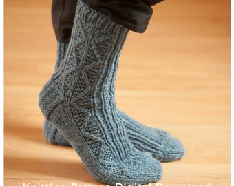 Sock Knitting Pattern PDF, Knitted Socks Pattern, Knit Socks knitting pattern, Quick Sock Pattern, Heavy Knit Socks, Cam's Camping Socks