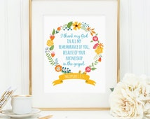 I thank my God in all my remembrance of you...partnership gospel, Printable wall art decor,Philippians 1:3, 5 Bible (Instant download - JPG)