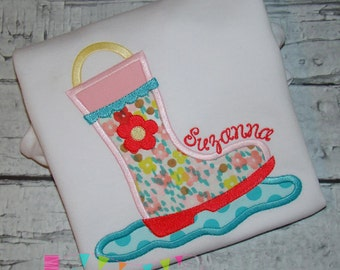 Rain Boot Applique Design