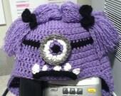 Crochet Evil Purple Minion hat
