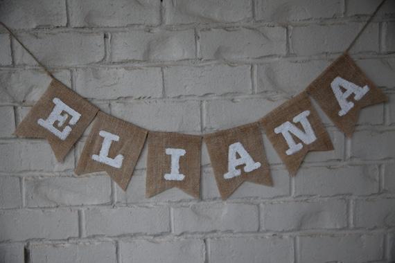 custom burlap banner name banner baby banner baby shower banner