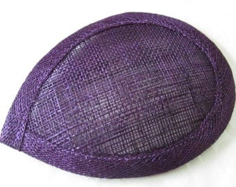 Deep Purple Teardrop Hat Base / Hat Base / Sinamay hat base / Fascinator Base / DIY Fascinator