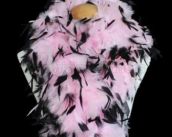 Baby Pink w/ Black tips 100 Grams Chandelle Feather Boa 74 Inches Long Dancing Wedding Crafting Party  Halloween Costume Decoration.  4E41