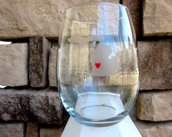 I LOVE MICHIGAN- Stemless Wine Glass