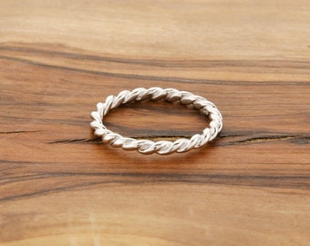 925 Sterling Silver Rope Band Ring