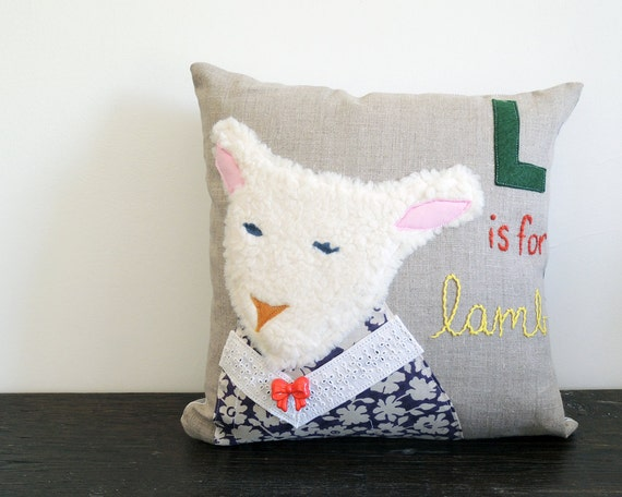 7 Inspiring Kid Room Color Options For Your Little Ones: L Is For Little Lamb Nursery Throw Pillow