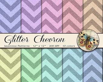 Chevron Glitter Paper, Digital Glitter Chevron Papers, Chevron Digital Paper, Printable Glitter Paper