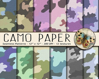 Camouflage Digital Papers, Camo Digital Paper, Military Fabric Digital Paper, Camouflage Background Paper