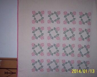 Rose design cross stitch quilt