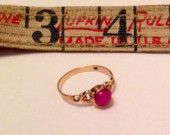 Victorian Star Ruby and 14 K Rose Gold  Engraved Ring