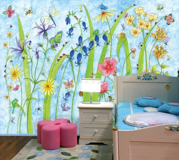 Children 39 s paper mural measures 9 39 2 75m wide by 7 39 2 for Butterfly garden mural