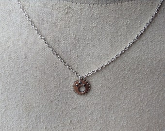 Antiqued Silver Gear Necklace