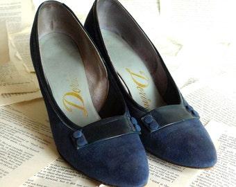 1950s Blue High Heels Vintage 50s 60s Shoes Suede Stiletto Pumps Size 6