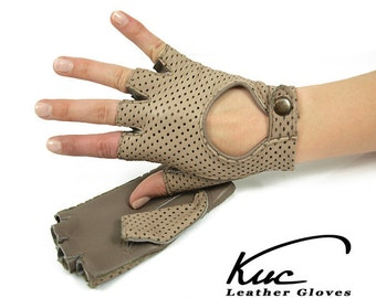 Beige fingerless leather gloves, driving gloves- perforated italian lambskin leather