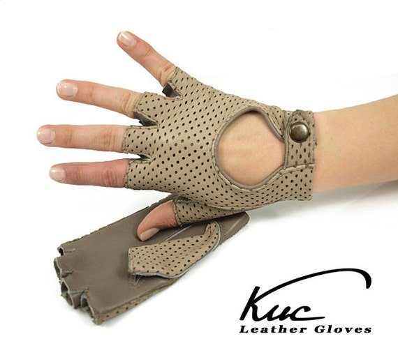 Beige fingerless leather gloves driving gloves perforated