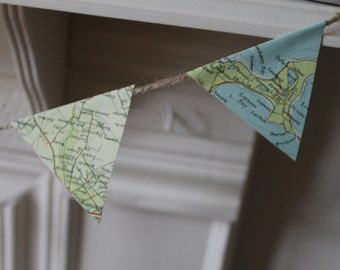 Vintage map bunting - medium sized - 2m lengths.