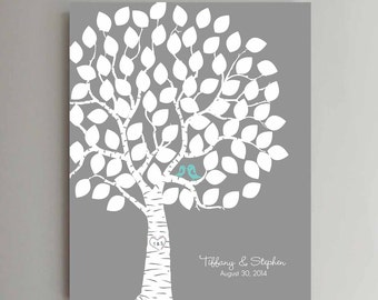 75 Guest Wedding Guest Book Wedding Tree Wedding Guestbook Alternative Guestbook Poster Wedding Guestbook Poster - Gray