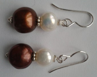gorgeous natural freshwater pearl earrings with sterling silver