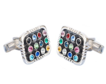 Sterling Silver, Hoshen, Cufflinks, ,Multi-Colored Crystals, jewish gift, gift for him