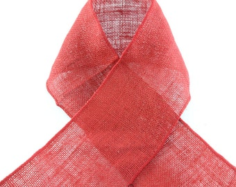 RED WIRED BURLAP Ribbon  - Great for Crafts, Wreaths, Projects, etc. Offray Ribbon - Select Length and Width