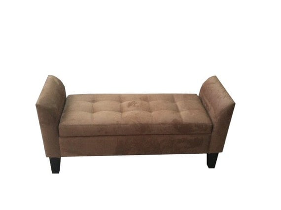 Arm Bench With Storage Tufted Seat Suede Ottoman By Fancydecor
