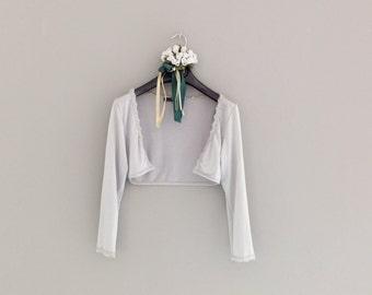 GREY PEARL SHRUG, 3/4 sleeves lace shrug, summer shawl, wedding lace shrug, viscose bolero shawl, vintage shrug, small size