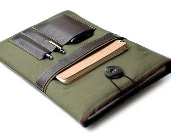 """Canvas Notebooktasche13 """"+ Olive leather specialist"""