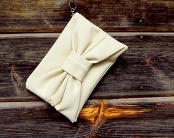 White Leather bag, Handmade Leather bag, Cosmetic bag, Bow Leather bag, Bow bag, Accessories bag