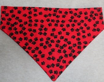 Red and Black Paw Print Dog Bandana in Small, Medium & Large