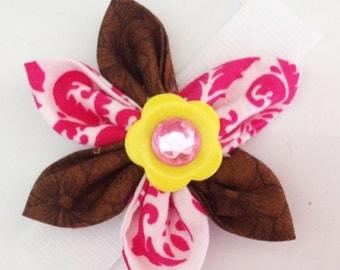 Pink & Brown Girl  Dog Collar Flower