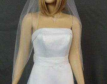 Silver Pencil Edge Wedding Veil, Fingertip Length Bridal Veil, One Layer Veil