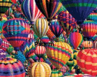 Hot Air Balloons. Cross Stitch Pattern. PDF Files.