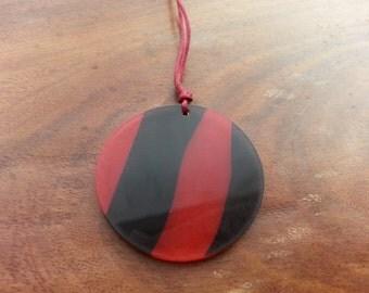 pretty red and black striped pendant