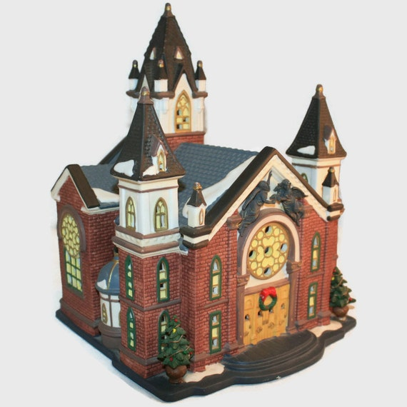 Heartland Valley Village Lighted House: Vintage O'Well Christmas Village Cathedral Church White
