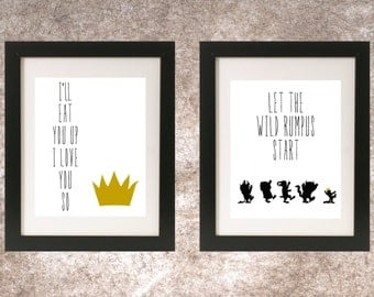 Where the Wild Things Are Prints // I'll Eat You Up I Love You So // Let the Wild Rumpus Start // Nursery Prints // Set of 2