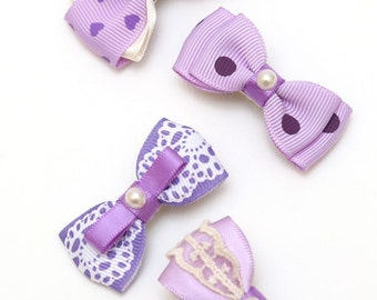 Baby Hair Clips-A mix set of satin bow clips - purple. Handmade