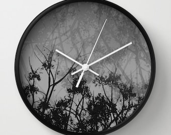 Gray Sky Wall Clock, Nature Photography, Landscape Photography, Minimalist Photo, Silhouette Art,  Black and White Tree Branches photo